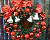 Vintage German Christmas Bells Wreath with Vintage West Germany Glass Ornaments