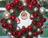 Snow Cabin Holiday Wreath Made with Vintage Glass Ornaments