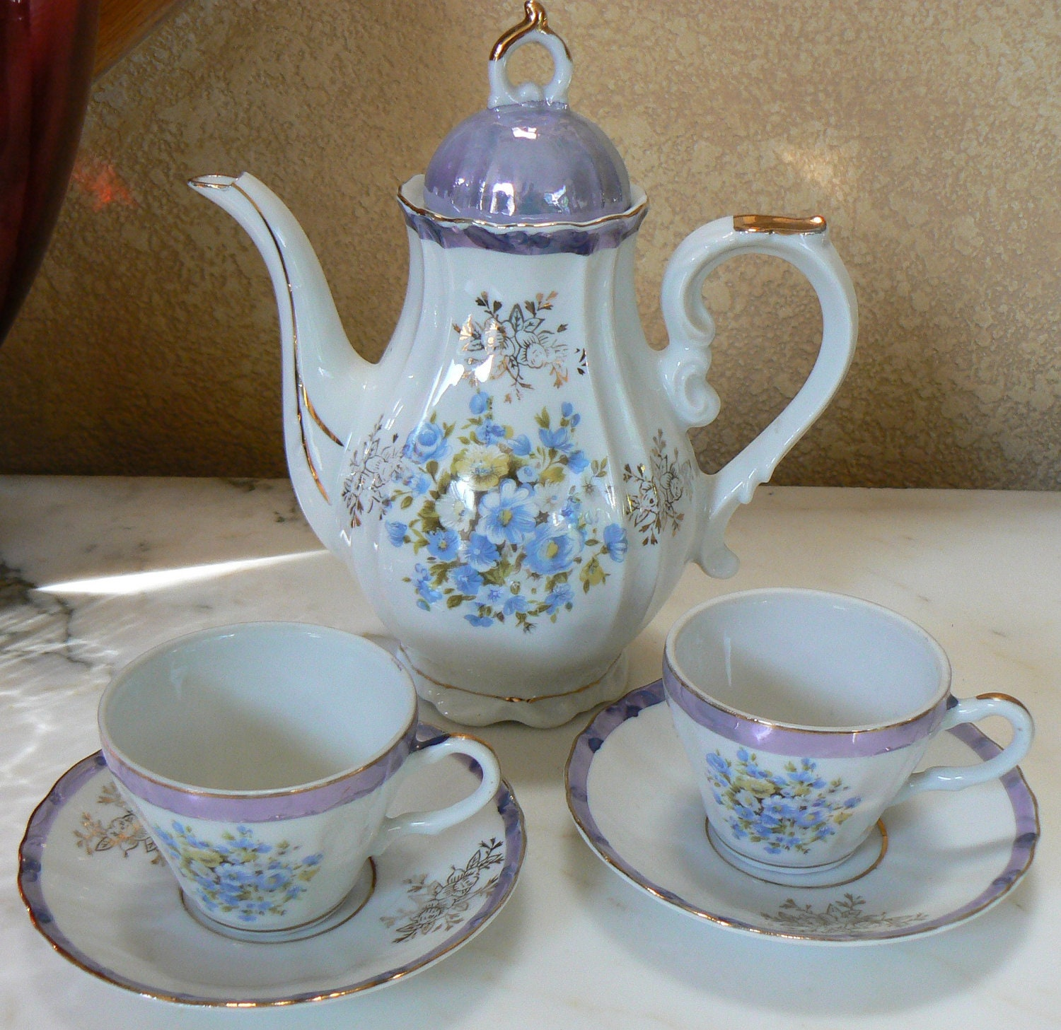 music box tea pot and 2 cups set musical tea party by krausehaus. Black Bedroom Furniture Sets. Home Design Ideas