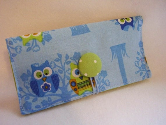 Cute Blue Hoot Owl  Checkbook Cover , Vinyl Insert, Coupon, Wallet, Organizer Case