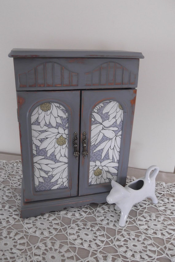 Shabby Chic,French Dresser, Farmhouse Armoire, Jewelry Box , Handpainted in Paris Grey