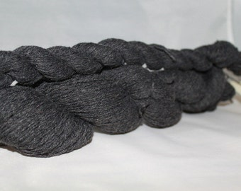 30% off STORE CLOSING SALE Upcycled Dark Gray Cotton Merino Yarn, Lace Yarn - 530 Yards
