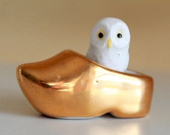 Vintage Golden Porcelain Minature Shoe - Holland Clog Souvenir