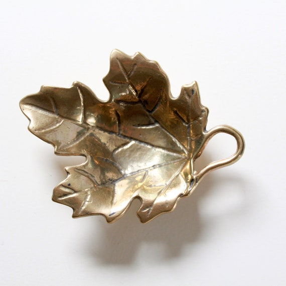 Vintage Brass Leaf - Solid Brass Leaf Tray - Small Jewelry Tray No 2