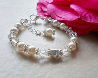 Heart Initial Sparkling Pearl, Crystal, and Rhinestone Bracelet B212