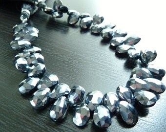 1/4 Strand - Mystic Pearl Spinel Faceted Pear Briolettes (No. 1473)