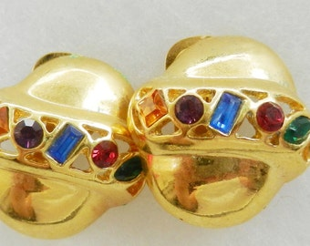 Original vintage 1960, Italian - bright and colorful - gold and crystal earrings -stylish elegance  -Art.76/2--