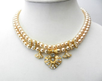 1950s 2-strand pearl and crystal choker necklace - A Collier worthy of the most romantic wedding and retro-Art.353 -
