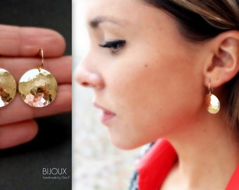 Disc Earrings - Hammered Disc Earrings- 14K Goldfilled