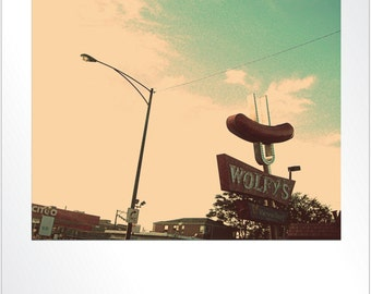 Chicago Photography, Wolfy's hot dogs, Chicago hot dogs, mid century sign, vintage, Chicago Art, americana, aqua, red, Polaroid style