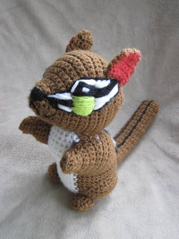Crocheted Chipmunk PDF Pattern with Bonus Acorn Pattern- Digital Download - ENGLISH ONLY