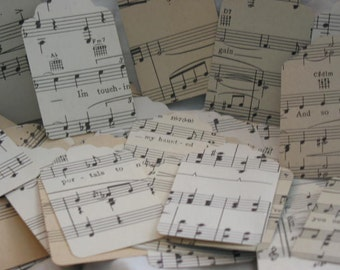 12 Assorted Vintage Christmas Sheet Music Tags