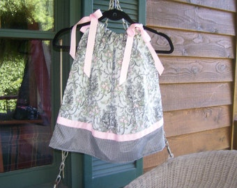 French Country Toile Pillowcase Dress 3T  Ready to ship.