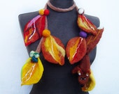 SALE felt statement necklace, felt autumn leaves, eco friendly, lariat, squrrel brooch