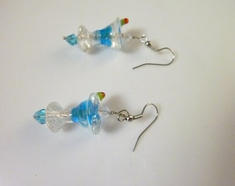 Martini Drink --Unique Lampwork Glass Bead Earrings