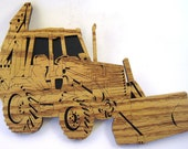 Heavy Equipment Front end loader/Backhoe scroll saw cut handmade--7tr