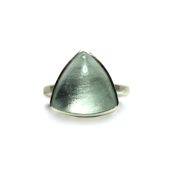 Geometric Blue Aquamarine Silver Ring Triangle Modern - Tri-Aqua