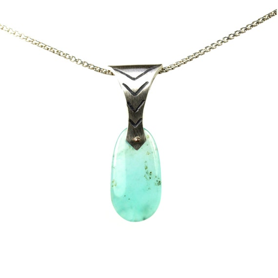 Drop Shaped Andean Opal Silver Necklace - Andean Arrow