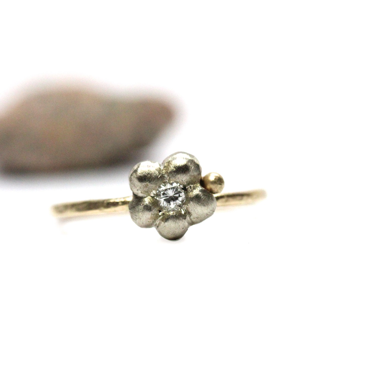 14K Gold Diamond Flower Engagement Ring Yellow by NangijalaJewelry