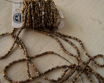 antique French Steel cuts bead strand Rustic Oxidization Nice Patina  52 inches