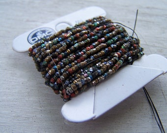 Antique French metal bead strand Faceted Diamond cuts and rounds bright colors  Vintage beads
