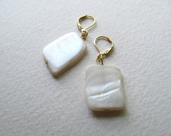 Ivory mother of pearl geometric earrings on 14k gold fixtures, white shell rectangles
