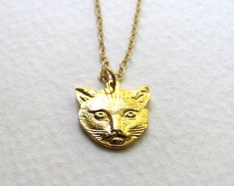 Cat pendant necklace, 18k gold plated kitty cat charm on delicate 14k gold plate chain