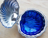 Silver and Cobalt Blue Glass Condiment or Relish Dish, Clam Shell Shaped