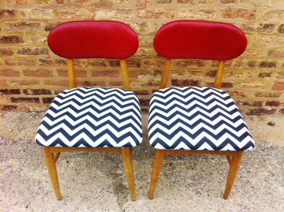 Pair Of Mid Century Chairs In Black and White Chevron