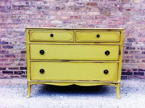 Antique Distressed Dresser In Celery