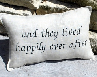 Romantic Pillow -Happily Ever After Linen Blend Fabric  Embroidered