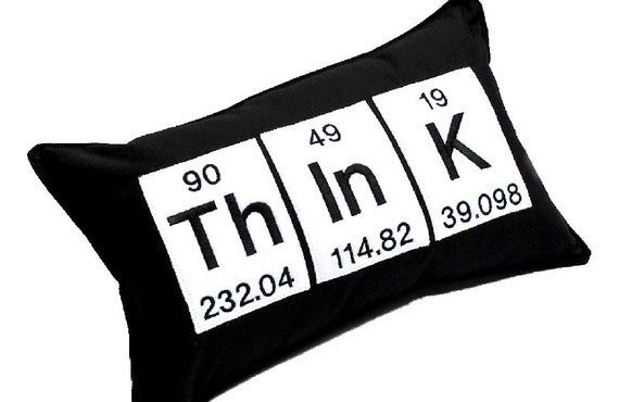 Think Word  Embroidered Pillow using the Periodic Table Chemistry elements