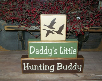 New Boys Daddy's Hunting Buddy Primitive Wood Sign Blocks Duck Deer Can Be Personalized Nursery Decor