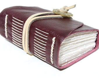 Free Shipping - Harmony - Wee Chunky Book - Handmade - Plum Leather with Jade Adornment