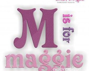 Maggie Monogram Font Set- Machine Embroidery Font Alphabet Letters  - Instant Email Delivery Download Machine embroidery design