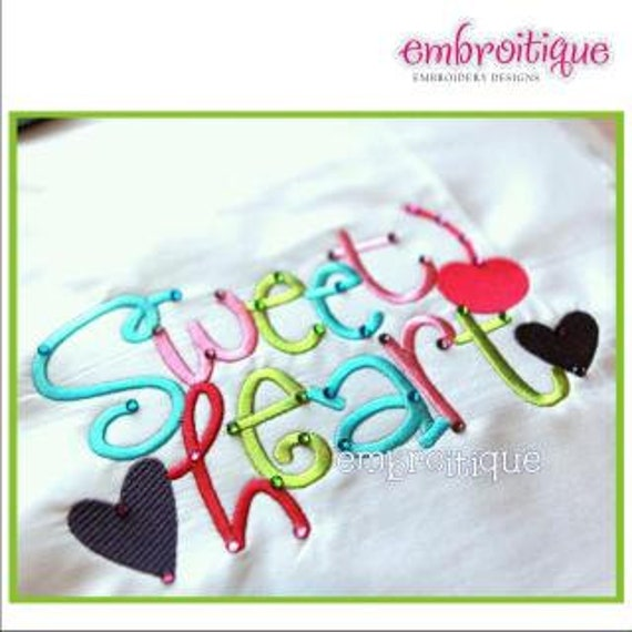 Sweetheart Word Jumble Block- Instant Email Delivery Download Machine embroidery design
