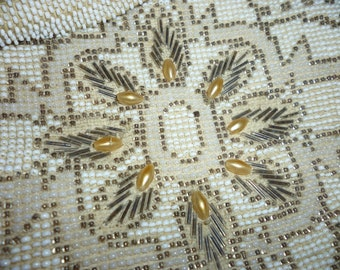 Beautiful Antique Beaded Evening Bag White Silver Pearls