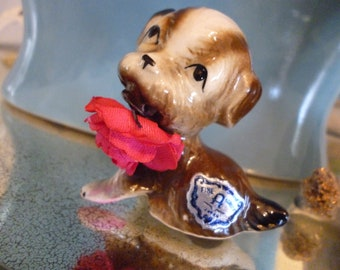Sweet Vintage Porcelain Puppy With Hot Pink Rose Made In Japan