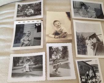 Antique Family Portraits Children Babies 1950's Jewelry Making Ephemera Crafts Collage