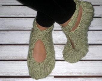 Green Ballerina Slippers, Handmade Slippers, Women Slippers, Ballerina Slippers