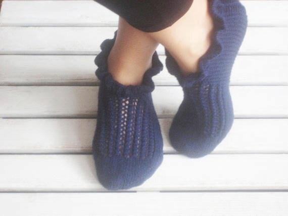 Deep Blue Wool Love Me Slippers