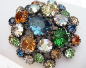 Vendome Signed Multi-Color Rhinestone Brooch