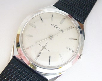 Le Coultre 14k White Gold Wind Up Movement Leather Band Watch