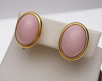 Trifari Pink Stone Clip on Earrings
