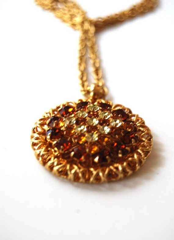 Vintage Sparkling Copper and Amber Rhinestone Pendant Necklace