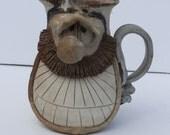 Vintage 1970's Signed Ugly Face Studio Pottery Handled Pitcher Vase