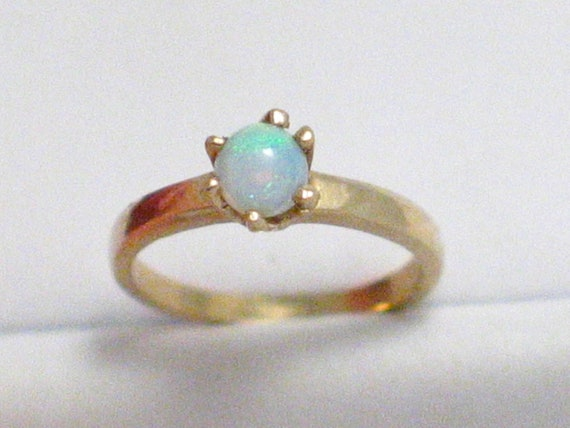 10kt gold opal birthstone ring charm pendant for necklace