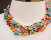 Multi Strand Necklace - Rainbow, Turquoise, Red, Orange  - 7 strand