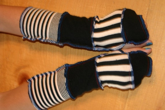 Harry and the Hippie Chic RECYCLED Upcycled ooak Reconstructed Arm Warmers Black and White Combo