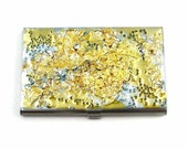 Gold Leaf with Swarovski  Inlaid in Hand Painted Enamel Gold Nugget Metal Wallet Custom Colors and Personalized Options